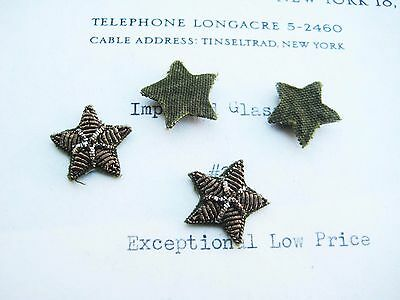 4 Tiny Vintage Bronze Gold Metallic Bullion Stars Military Applique 5/8""