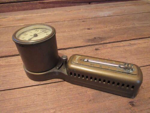 Vintage Brass The Minneapolis Heat Regulator Co. Jewell Tycos Thermometer/clock