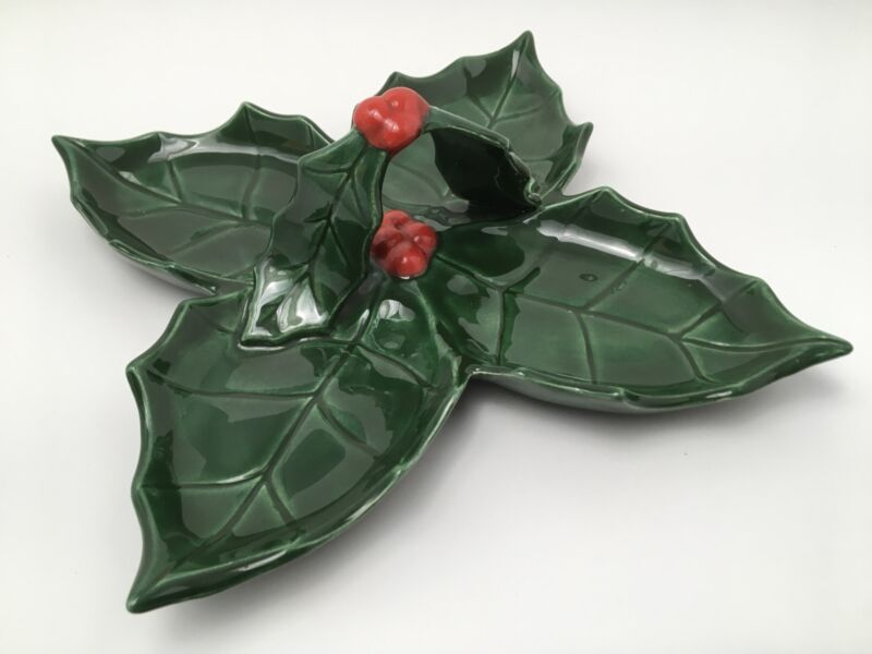 Vintage Holland Mold Christmas Dish Holly Leaves Berries Signed Handle 1970s
