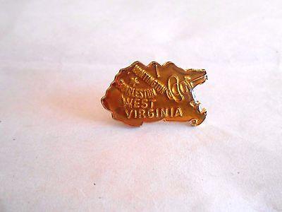 Cool Vintage West Virginia State Figural Souvenir Lapel Pin Pinback