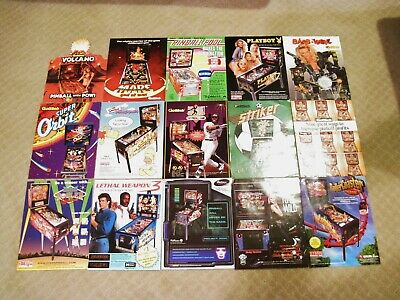 Pinball 15 Flyer Lot / Ad / Brochure - Mars, Playboy, Simpson, Striker, Roller