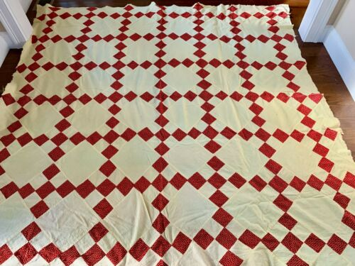 Antique Vintage  Quilt top pale yellow & red diamond design 70 x 74  excellent
