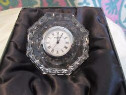 Waterford Mantle Clock Paperweight Cut Crystal octagon