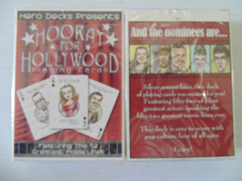 Hooray For Hollywood Movie Stars Playing Cards Deck Stallone Bogart Gable Etc