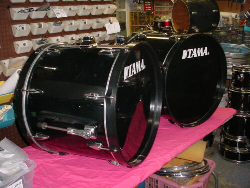 """2 TAMA Imperial star Double Bass Drum s Black 22"""" Headsize By 18"""" Deep No Res#6T"""