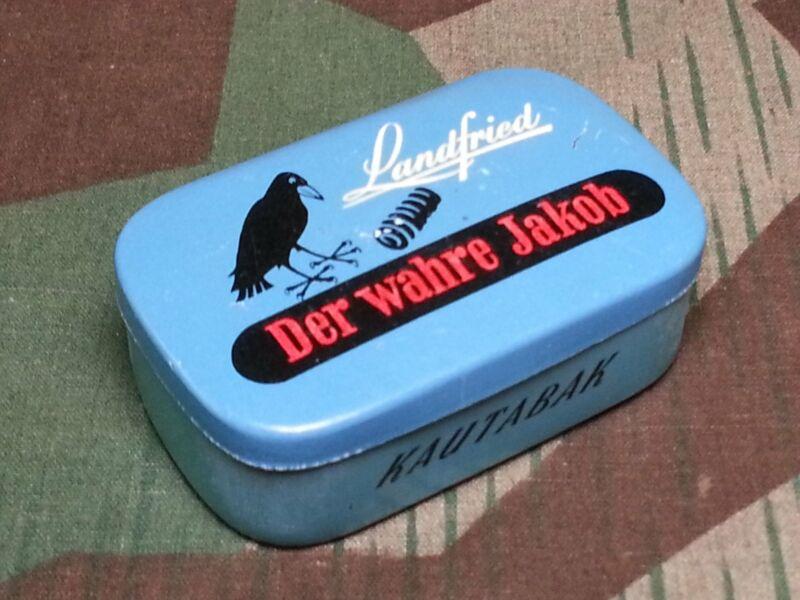 "Original 1930s 1940s WWII German Chewing Tobacco Tin ""Der Wahre Jakob"" Landfried"