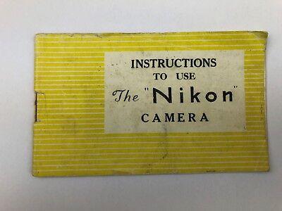 Nikon I Rangefinder Camera Tokyo Original Yellow Instruction Manual - Very Rare  for sale  Shipping to India