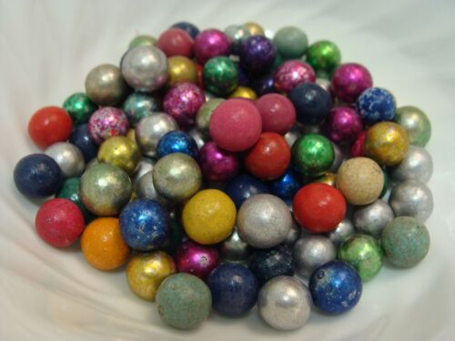 100 Vintage Marbles Handmade Clay 1930s Era Pee-Wee Foil Dyed Beautiful Group