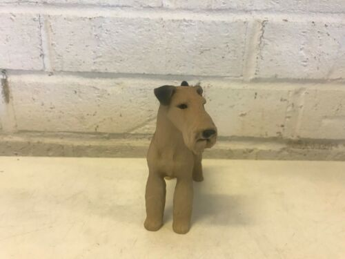 Airedale Terrier Figurine Standing Resin Stamped Painted Black & Brown
