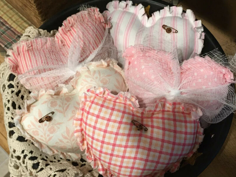 Primitive Heart Bowl Fillers Valentines Day Ornies Prim Set of 5 Shabby Chic