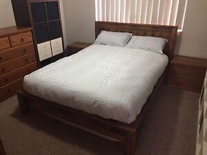 Solid hardwood queen bed frame and side tables Gaythorne Brisbane North West Preview