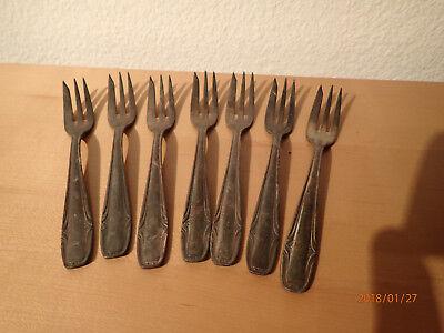 Kuchengabeln versilbert 6 Stk. Hersteller unbekannt Gabeln Silber