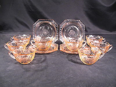 """Anchor Hocking Mayfair """"Open Rose"""" Pink Cups (8) Saucers (4) Total Group 12"""