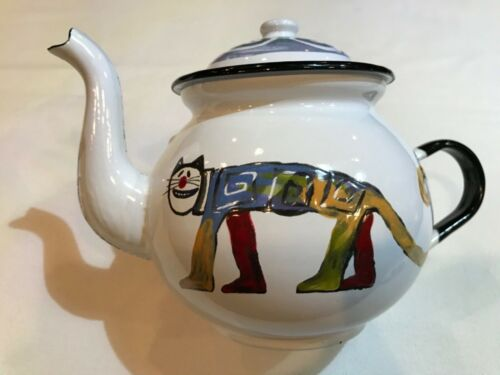 Smaltum Praha Enamelware Tea Pot Prague Czech Cat Design Teapot  K162