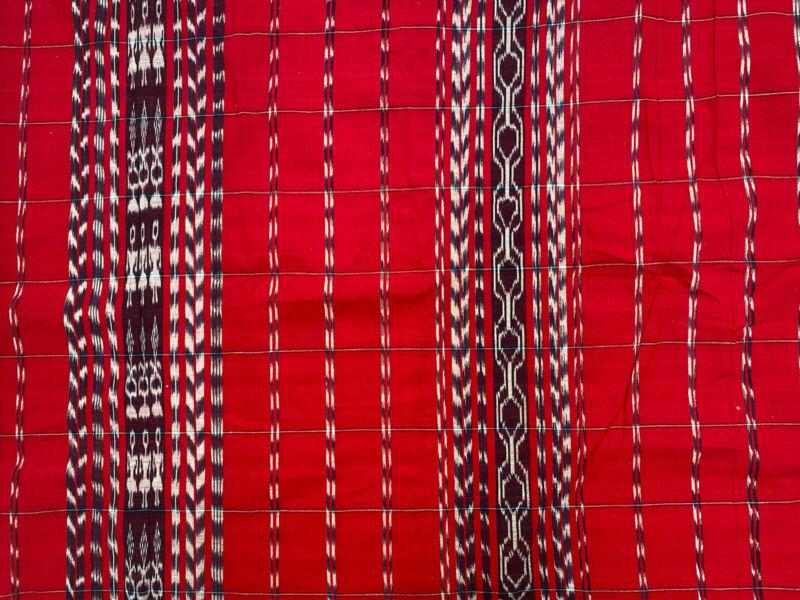 Guatemalan Ikat fabric Three Ladies Red / White/ Midnight Navy / LARGE PIECE!