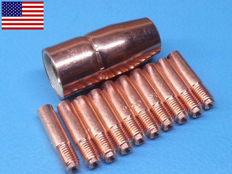 "11pc 000066 0.023"" Tips + 1/2"" MIG Nozzle 169-715 169715 For Miller® M10 M15 Gun"