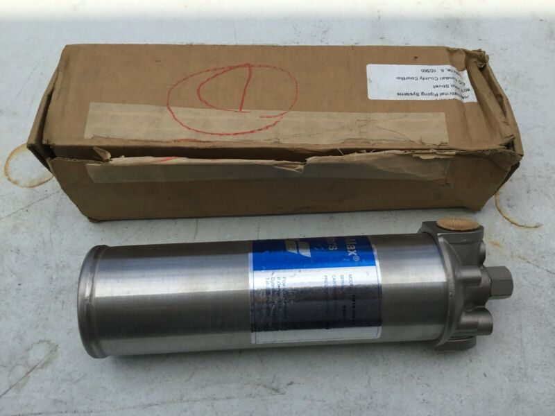 """NEW Flow-Max FM10-304-34 10"""" Stainless In-Line Filter Housing; 3/4"""" NPT"""