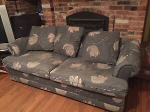 Fold out couch in need of good cleaning or reupholstering