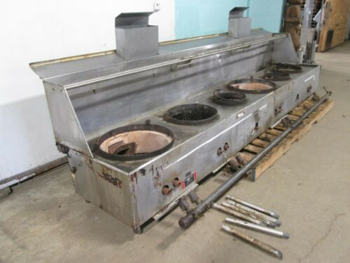 """restaurant Equip."" Hd Commercial 154½""w Nat. Gas 2 Jet/4 Ring Burners Wok Stove"
