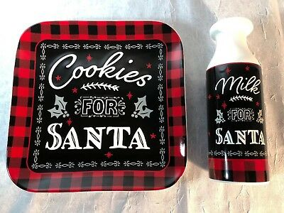 Milk And Cookies For Santa New Plate and Milk Jug made from Earthenware
