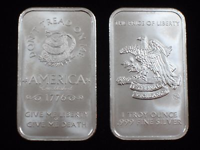 1 Oz Silver Bar    999 Silver   Dont Tread On Me   Price Of Liberty    S 402