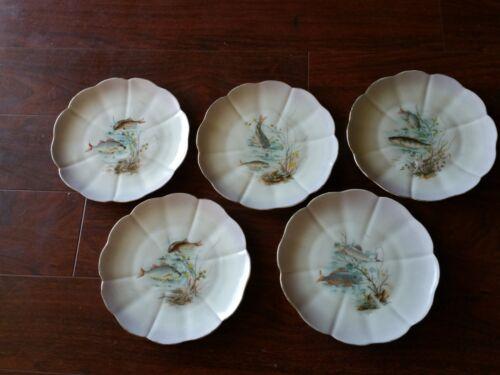 5 Vintage  CARLSBAD CHINA AUSTRIA FISH PLATES PLATE SALAD SALMON