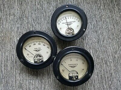 Vintage Jewell Volts Amps Galvanometer Gauges Set Of 3 From 1930s Steampunk