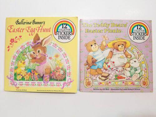 BALLERINA BUNNY EASTER EGG HUNT Book + TEDDY BEAR PICNIC Set VTG Sticker ANTIOCH