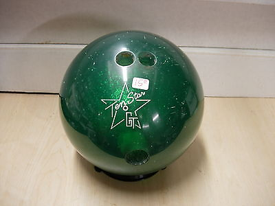 = 15 Gt (gem Tek) Ten Star Polyester Green Used Nostalgia Clear Bowling Ball