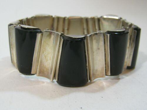 Vintage TAXCO Mexican Silver & Onyx Bracelet ~ Antonio Pineda Style ~ 116 Grams!