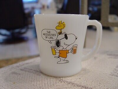 Fire-King A&W Root Beer PEANUTS SNOOPY & WOODSTOCK Advertising Coffee Mug