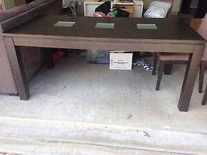 Lovely Dark timber dining table with glass inserts Wynnum Brisbane South East Preview