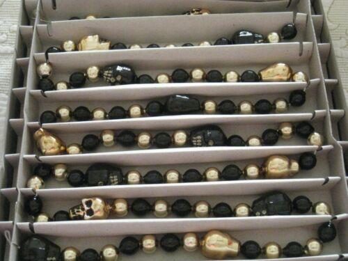 NEW SHINY BRITE HALLOWEEN CHRISTOPHER RADKO GOLD & BLACK SKULL GLASS GARLAND