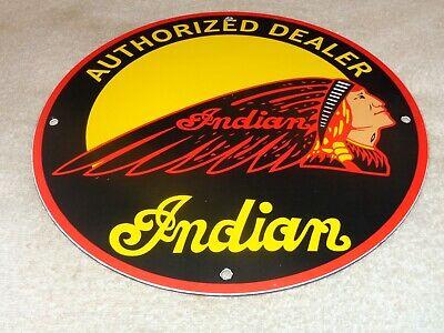 """VINTAGE INDIAN MOTORCYCLE DEALER CHIEF 11 3/4"""" PORCELAIN METAL GASOLINE OIL SIGN"""