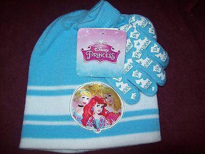 Little Girls DISNEY PRINCESSES Hat & Gloves -  New NWT - BLU