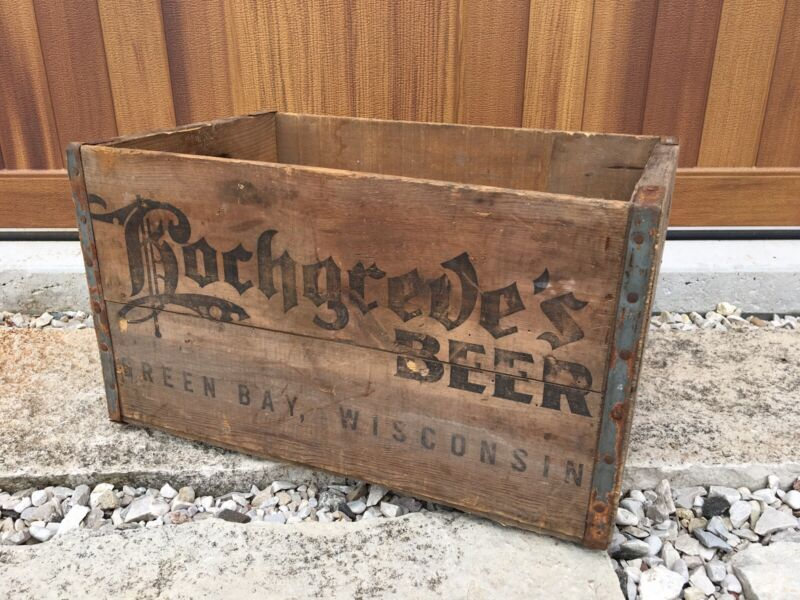 Vintage Wooden Beer Crate Hochgreve's Brewing Green Bay Wisconsin Wood Box