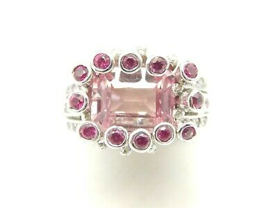 STERLING SILVER 925 EMERALD CUT 4 TCW CREATED PINK SAPPHIRE SOLITAIRE RING  5.75
