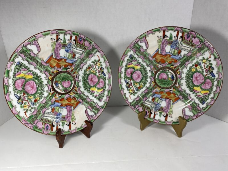 """TWO VINTAGE CHINESE ROSE MEDALLION CANTON 10"""" DINNER PLATES"""