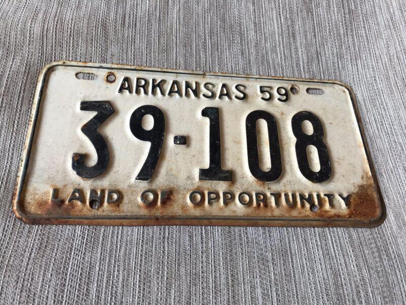 1959 Arkansas License Plate 39 108