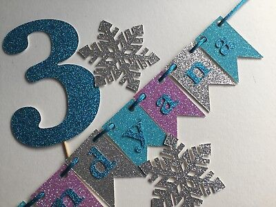 FROZEN themed purple, aqua, silver cake topper personalised with name and number