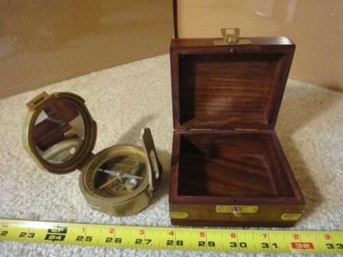 Vintage heavy duty navigational, engineer, nautical, maritime brass compass.