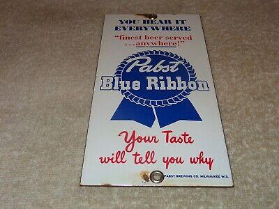 "VINTAGE ""PABST BLUE RIBBON BEER MILWAUKEE WISCONSIN"" 8"" PORCELAIN METAL GAS SIGN"