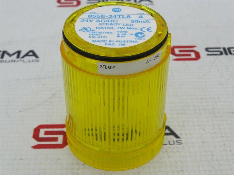 Allen-Bradley 855E-24TL8 Signal Tower Stack Light Yellow Series A 24VAC/DC 50mA