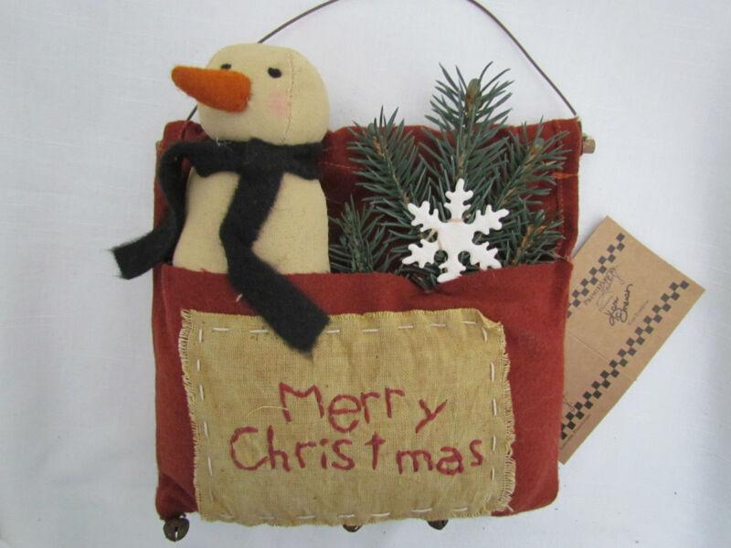 Merry Christmas Primitive style SNOWMAN bag ornament ~ Primitives by Kathy 16461