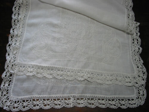 "Antique Table Runner Bobbin Lace Embroidery Needle Work Lotus,32""x22.5"" Muslin"