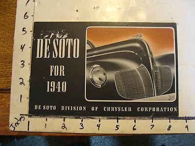 vintage brochure: DESOTO for 1940 ----ORIGINAL BROCHURE