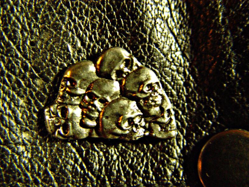 Seven Skulls Classic Vintage Old School Motorcycle Vest Biker Pin 1130