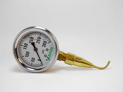 CHECK YOUR PSI AT THE SPRINKLER -QUALITY LIQUID FILLED GAUGE N PITOT TUBE 300PSI