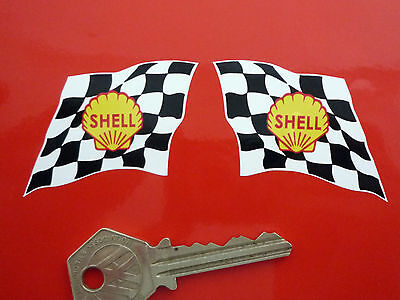 SHELL Wavy Chequered Flag 60's Car STICKERS 50mm Race Classic Lotus BRM Ferrari