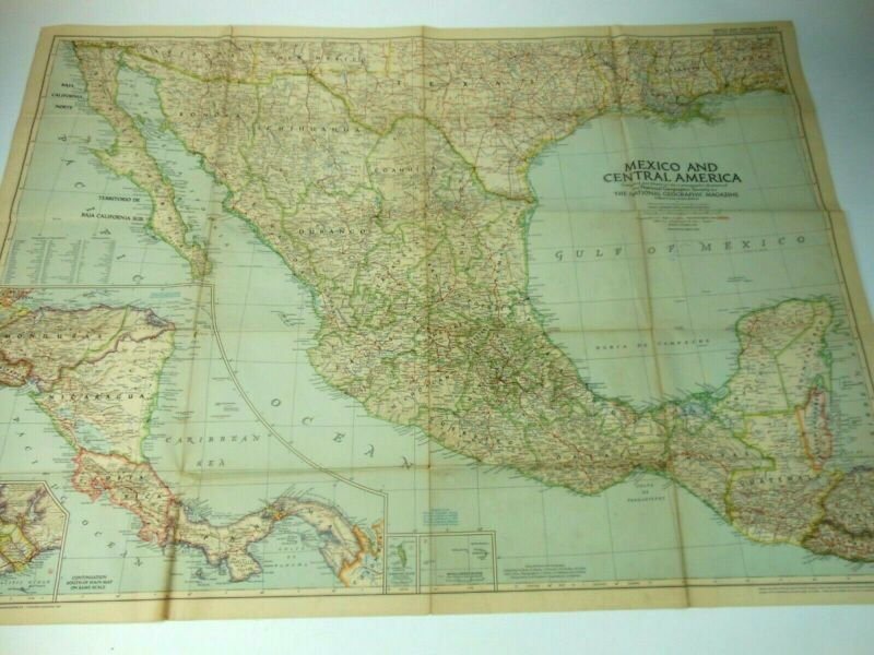 2 Old Maps 1953 Mexico Central America MAP & Southern South America 1958 N Geo